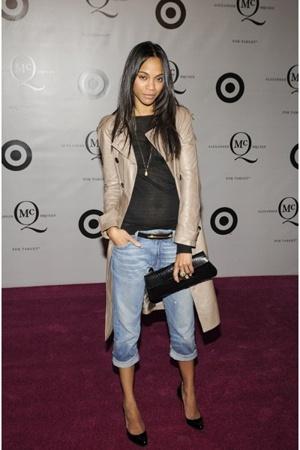 coat - blouse - belt - jeans - shoes - purse