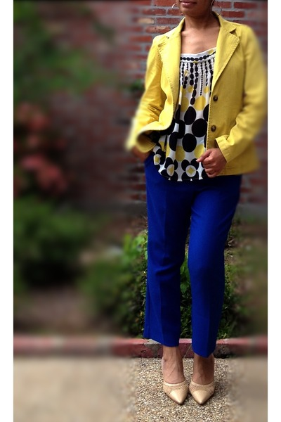 yellow cotton blazer Old Navy blazer - blue asos pants