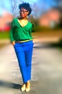 Blue-ankle-pants-asos-pants-tan-old-navy-sweater-light-yellow-h-m-scarf