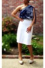 White-pleated-skirt-diy-skirt-navy-one-shoulder-blouse