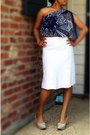 Navy-one-shoulder-blouse-white-pleated-skirt-diy-skirt
