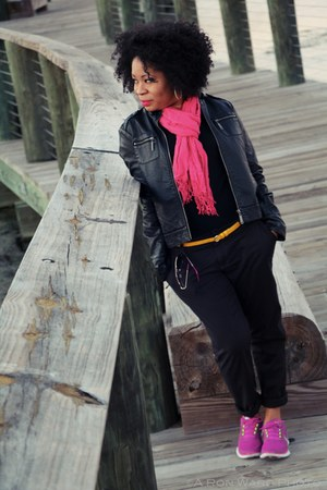 black vegan leather jacket - hot pink Target scarf - black Express t-shirt