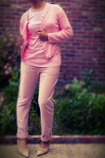 pink khaki old pants