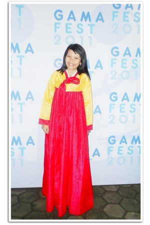 red hanbok dress - yellow satin morningflos hoodie