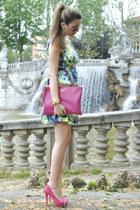 aquamarine Zara dress - hot pink asos shoes - hot pink Coccinelle bag