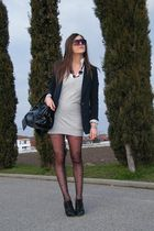 black Guess boots - gray asos dress - black Bag accessories - black jaket guess