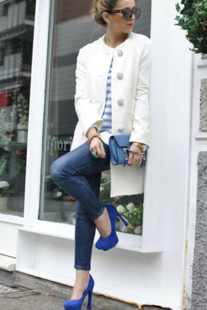 blue sarenzait shoes - ivory Rinascimento jacket - ivory H&M sweater