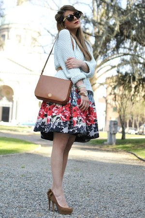 red Primark skirt - aquamarine Zara sweater