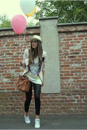 pink Prada blazer - white Converse shoes - white mickey shirt - brown Miu Miu