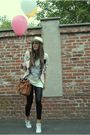 pink Prada blazer - white Converse shoes - white mickey shirt - brown Miu Miu