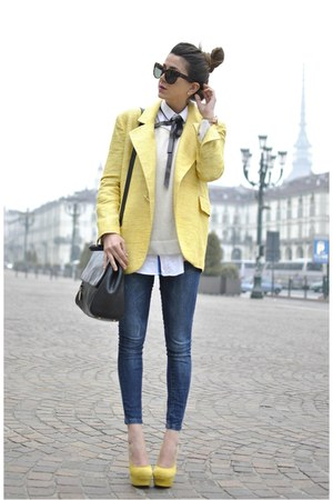 light yellow gianfranco ferre jacket - light yellow sarenzait shoes