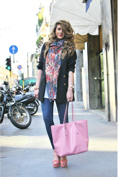 pink Coccinelle bag - black Moschino jacket - hot pink Zara scarf