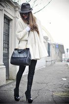 gianfranco ferre coat - Borsalino hat - Dolce & Gabbana bag