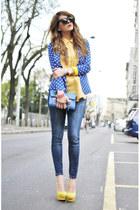 yellow sarenzait shoes - blue Queens Wardrobe jacket - blue coccinelle bag bag