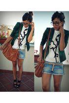 green Guess jacket - blue REPLAY shorts - white www123lit shirt - black vitulli