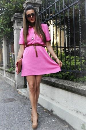 tawny Bershka heels - hot pink vintage suit