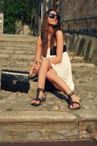beige asos dress - black Chanel accessories - black vitulli shoes