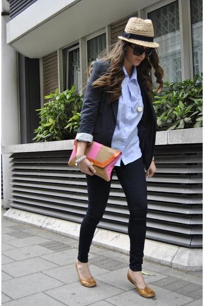 hot pink Primark bag - navy asos blazer