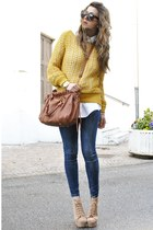 gold silvian heach sweater - blue Zara jeans