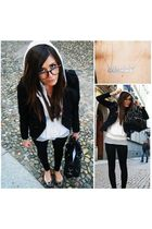 black H&M jacket - white pinko jaket - gray guess scarpe - black Zara pants