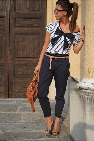 brown Miu Miu bag - blue roberto della croce shoes - white asos shirt
