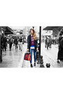 Ruby-red-kenzo-dress-navy-zara-jeans-black-stradivarius-blazer