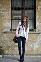 black ASH boots - black REPLAY jeans - light pink Prada blazer