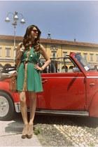 light pink Steve Madden boots - chartreuse Primark dress