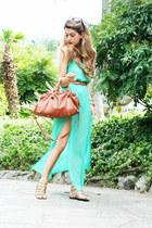 burnt orange Miu Miu bag - chartreuse In Love with Fashion dress