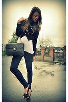 black Dixie blazer - white my creation shirt - blue Zara pants