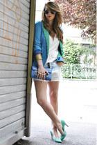 aquamarine OASAP jacket - light blue Zara shorts