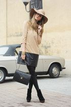 tan H&M hat - nude Zara dress - black Chanel bag