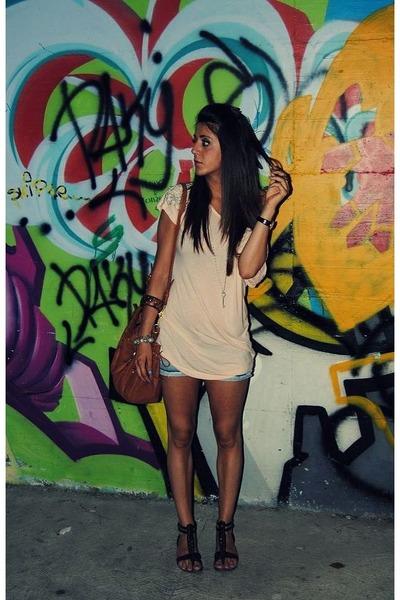blue REPLAY pants - beige H&M shirt - brown Miu Miu accessories - brown vitulli