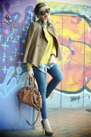 burnt orange Zara jacket - blue Zara jeans - carrot orange Miu Miu bag