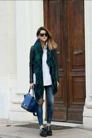 navy Zara jeans - blue Celine bag - black Mango flats