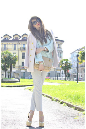 light pink H&M jacket - light blue Zara sweater - nude Miu Miu bag