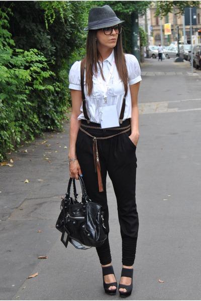 black Dixie pants - black vitulli shoes - black vintage hat - white asos shirt