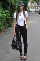 black Dixie pants - black vitulli shoes - black vintage hat - white asos shirt