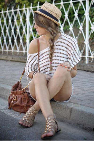 cream Forever 21 blouse - cream H&M hat