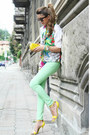 Aquamarine-romwe-jeans-hot-pink-gianfranco-ferree-shirt-yellow-h-m-bag