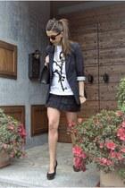 navy asos blazer - ivory 123lit t-shirt