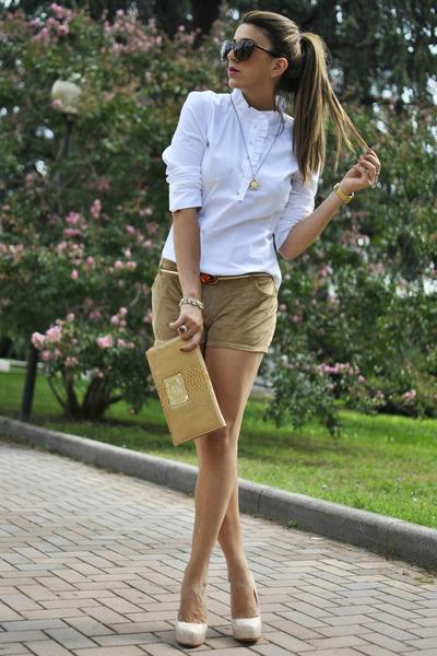 ivory Zara blouse - beige Iceberg bag - mustard Forever 21 shorts