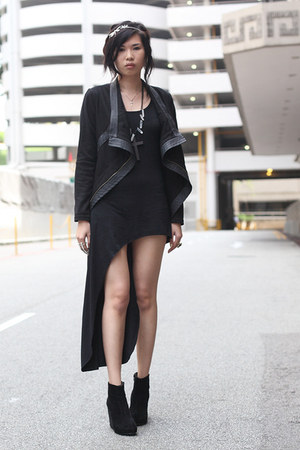 black CONTROL dress - black jacket - off white amen necklace - black shoes wedge