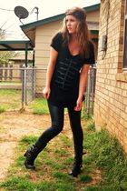 black New York and Co shirt - black Miley Cyrus leggings - black Miss Biousou bo