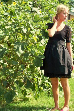 black Forever 21 dress - black skirt - pink American Eagle shoes