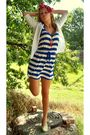 Red-scarf-white-vanity-cardigan-blue-forever-21-dress-red-claires-necklace