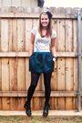 Black-forever-21-accessories-white-forever-21-shirt-blue-forever-21-skirt-