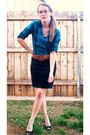 Blue-vanity-shirt-black-new-york-and-co-skirt-brown-thrifted-belt-black-de