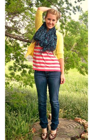 yellow merona cardigan - pink Forever 21 shirt - blue American Eagle jeans - bro