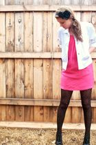 black Forever 21 accessories - white No Boundaries jacket - pink Old Navy dress